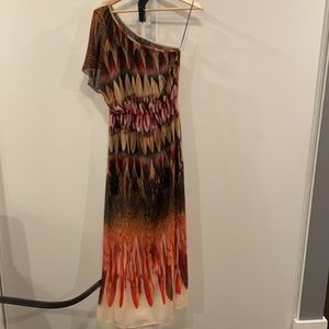 Topshop Feather Printed One Shoulder Long Dress